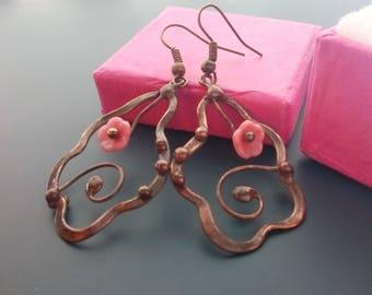 Stained glass earrings, statement jewelry, copper wire earrings, gift for women, wire jewelry, wearable art, glass beaded earrings, Tendrils