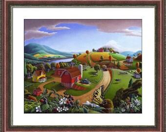Farm Folk Art Americana, Blackberry Patch Framed and Matted Rustic Landscape Print, Country Wall Art Decor, Nostalgic Cottage Art