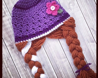 Princess Anna inspired hat ~ Frozen ~ Child ~ Teen ~ Adult ~ Crochet Beanie with Braids