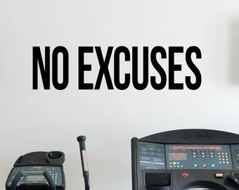 No Excuses Self Motivation Quote Gym Vinyl Decal Workout Fitness Wall Sticker Sport Home Gym Interior Wall Graphics 27(fgm)