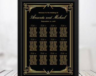 Great gatsby themed wedding seating chart, gold art deco, vintage wedding, gold calligraphy, personalize wedding table plan, rush turnaround