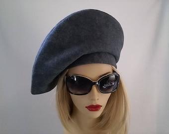 Beautiful Gray Felt Vintage Inspired Beret Hat
