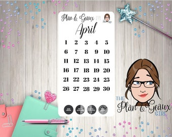 April Dates Functional Planner Stickers, April Dates, Moon Phases, Happy Planner, Bullet Journal,  FUN-473
