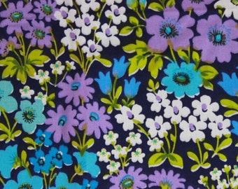Unused vintage cotton fabric, 70s curtain fabric