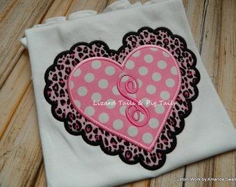 Girls Cheetah Heart Pink Polka Girls Valentine Day Shirt Girly Scalloped Heart