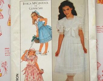 1980s Gunne Sax Girl's Dress Simplicity Pattern 8703 Uncut Retro Jessica McClintock Sewing Pattern