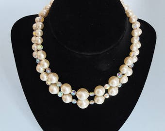 Vintage Faux Pearl and Crystal Glass Double Strand Necklace 1950s