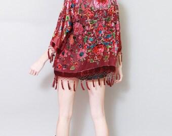 Vintage Style Maroon Flocked Silk Velvet Tassel Kimono