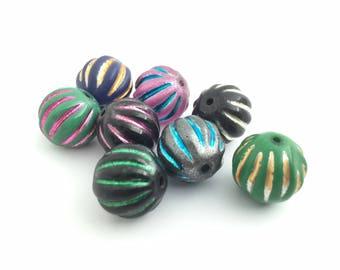 15mm Melon Bead Mix, Christmas Bead Soup, Handpainted Bead, Chunky Bead, Round Focal Bead, DIY Jewelry, CC1