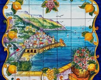Hand Painted Italian Tile Mural Ravello Italy Italian