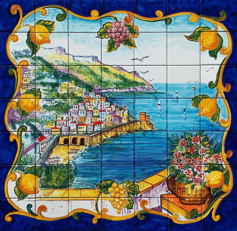 Ceramiche Musa Hand Painted Floor And Tiles Made In Italy: Hand Painted Italian Tile Mosaic Amalfi Coast Colorful