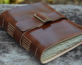 """Leather Journal, handmade, 5X7"""", Rustic, Free Initials"""