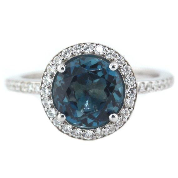 Ideal London Blue Topaz Engagement Ring Diamond Side Stones 14k Gold WO59