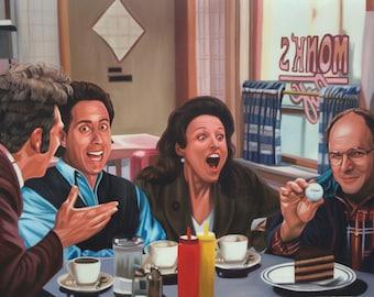 "Seinfeld original art, ""The Marine Biologist"" w/ Jerry, Kramer, George, Elaine, oil painting on canvas, 24x36"". 100% money back guarantee"