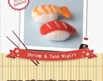 Sushi Shrimp & Tuna nigiri - DIY wool felting kit