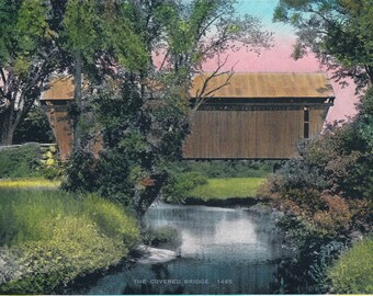 The Covered Bridge Hand Tinted Photo Print