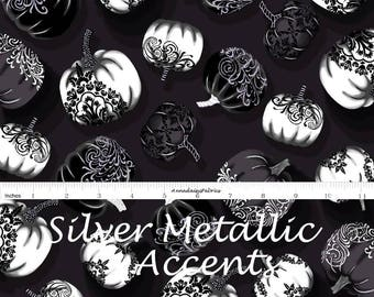 Silver Metallic Pumpkin Fabric, Halloween Quilt Fabric, Henry Glass Fabric Fright Night 1111M , Gray & Black Pumpkin Quilt Fabric, Cotton