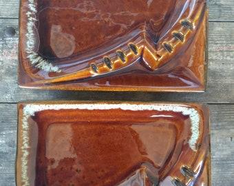 Set of 2 Vintage Mid Century Made in USA Pottery Ash Trays. Brown & White. Retro. Drip Glaze Ceramic