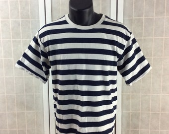 Vintage 90s White and Navy Blue Striped T-Shirt by Natural Spirits Great Condition Thick Cotton