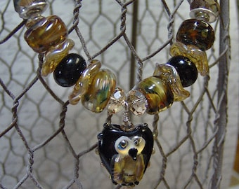 Lampwork and Gemstone Beaded Owl Pendant Necklace-Artisan Necklace-Wire Wrapped Necklace-Sterling-Statement Necklace- SRAJD-Golds and Black