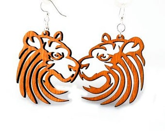 Tiger Earrings - laser Cut Wood