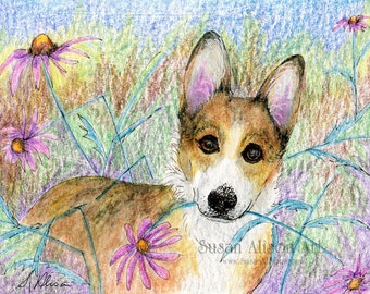 Welsh Corgi dog 5x7 8x10 11x14 print pup coneflower garden flowers gift for you present picked flower from Susan Alison watercolor painting