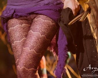 Baroque Fishnet Leggings (Maroon) - Festival Clothing Sexy Boho Leggings Tights Boho Comfy Gypsy Stockings Bohemian