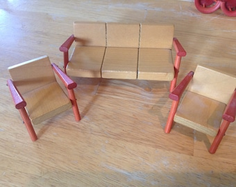 Vintage wood modernist mid century couch chair Danish miniature doll house furniture
