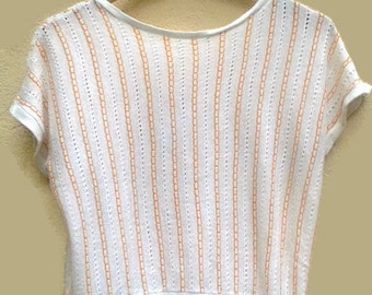 Vintage 70s80s Top PASTEL white Striped Pointelle TOP wHITE+peach knitwear shortsleeve 1970s VINTAGE Pullover batwing AbbaDisco Top small  S