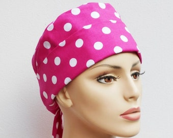 Scrub Hat Medical Pixie Tie Back- Pink Polka Dots Chemo Hat