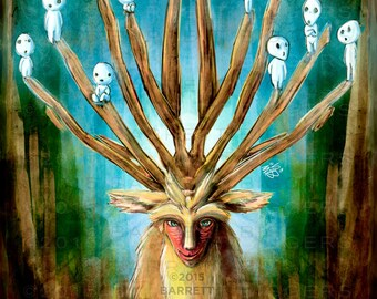 Princess Mononoke Deer God Digital Painting - signed museum quality giclée fine art print