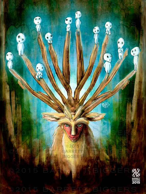 Princess Mononoke Deer God Digital Painting Signed Museum