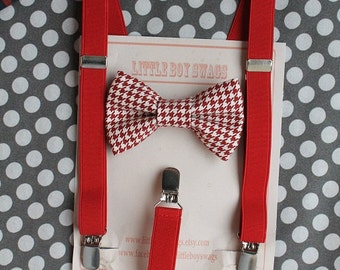 Boy Red Houndstooth Bow Tie Red Suspenders, Boys Valentines Day Outfit, Valentines Day, Wedding, Ring Bearer Outfit, Cake Smash, Kids outfit