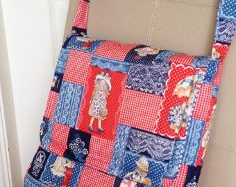 Patchwork Print Bag, Vintage Fabric Bag, 70's Fabric Handbag, Messenger Handbag, Shoulder Handbag, Retro Handbag, One Of A Kind Bag