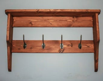 Handmade rustic wall rack/ coat rack