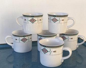 Southwestern Coffee Cups Set of 6 / Studio Nova Mug | Vintage Coffee Cups  | Tribal Pattern Mugs / Boho Coffee Cups / Retro Coffee Mugs