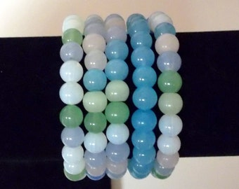 Stretchy Bracelets, Pastel Colors, 8mm round glass beads ... your choice ... Large - X Large Size Bracelets