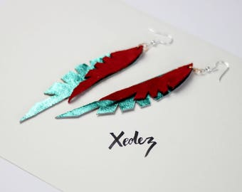 Leather Feather Earrings bright Turquoise + Red