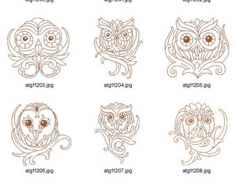 King-Of-Owls-Redwork. ( 10 Machine Embroidery Designs from ATW )