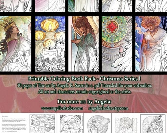 Printable Coloring Book Pack for Adults - Christmas Series I Art Nouveau Line Art to Color Pages