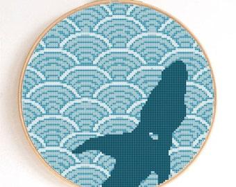 Blue Wave Pattern Goldfish Silhouette Counted Cross Stitch Pattern PDF