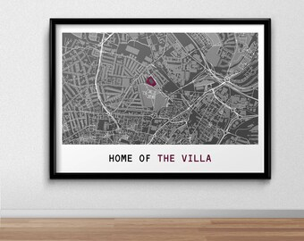 Villa Football Poster, Football Poster, Football Print, gift, Map Print
