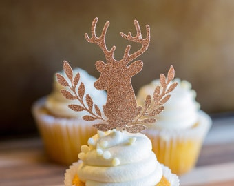 Set of 12 Floral Deer Cupcake Toppers | Glitter | Wedding | Sweet 16 | 40th Birthday| Custom Party Decor | Baby Shower |