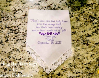 Wedding Gift for Nana Grandma Embroidered Wedding Handkerchiefs Wedding Gift for Grandma Wedding Gift for Nana Wedding by Canyon Embroidery