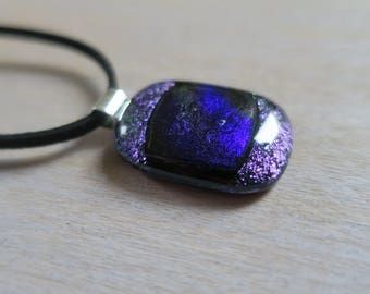 Purple dichroic glass necklace