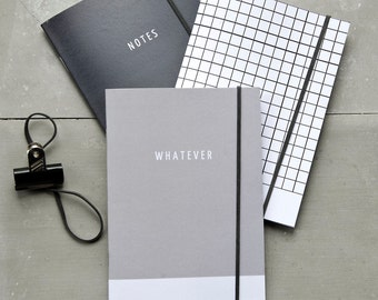 Shades of Grey Notebook Collection, Journal Set of 3, black and white minimal notebooks, modern A6 recycled paper pocket journal, Gift Set
