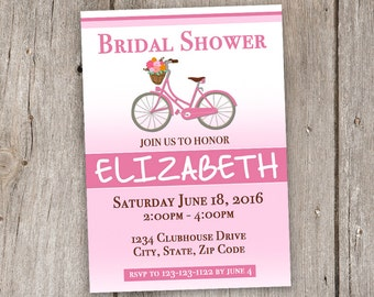 Vintage Bicycle/Pink/White/Brown/5x7/Bridal Shower/Invitation/Printable