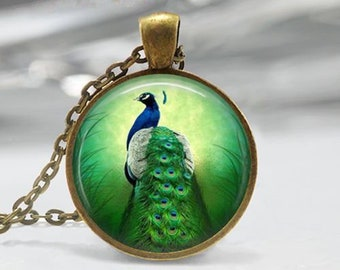"Necklace""Peacock"" cabochon glass chain pendant"