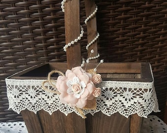 FLower Girl Basket Wedding Basket Bridal Basket Wedding, Rustic flower girl basket