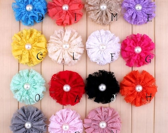 Frayed Mesh Lace Flowers With Pearl For Hair Accessories Shabby Artificial Fabric Flowers For Headbands Flower Supplies 7cm